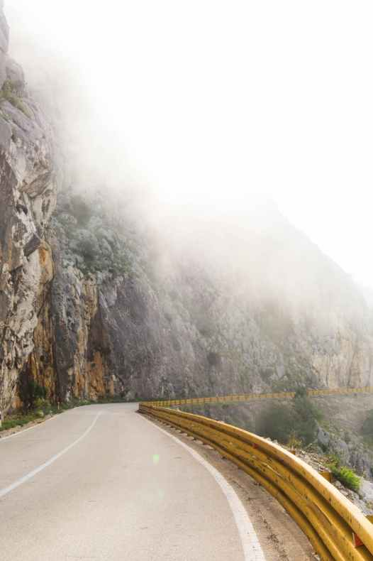photography of road near foggy mountain